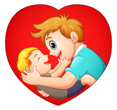 Father holding his son with in heart shaped