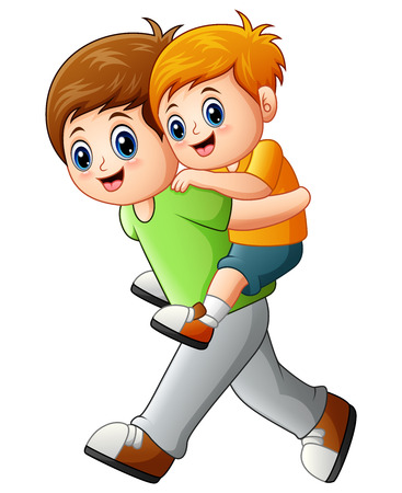 Vector illustration of Big brother doing piggyback ride younger brother
