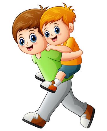 Vector illustratie van Big brother doet piggyback rit jongere broer Vector Illustratie