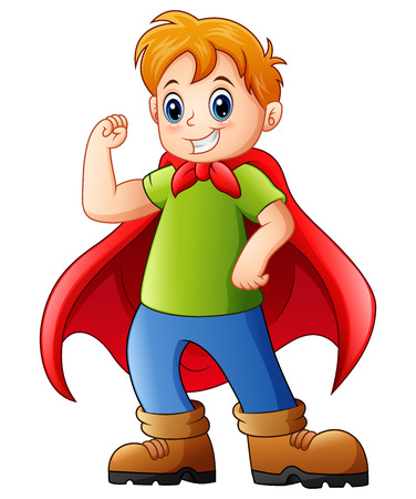 Vector illustration of Cartoon kid playing a superhero Çizim