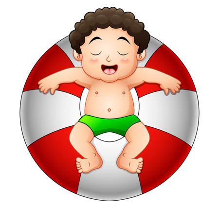 Vector illustration of Little boy relaxing in inflatable ring Illustration