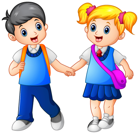 Vector illustration of Cartoon girl and boy go to school together