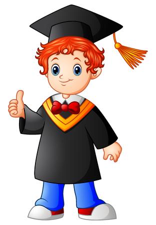 Vector illustration de la bande dessinée garçon de graduation montrant thumbs up Banque d'images - 83258929