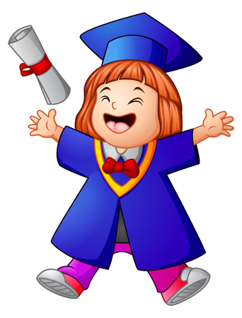 Vector illustration of Happy graduation girl cartoon