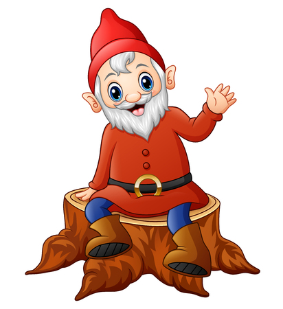 Cartoon dwarf sitting on tree stump Stock Photo