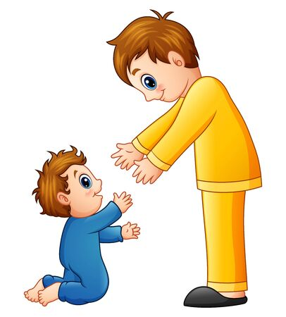 Cartoon dad holding his son hands Stock Photo
