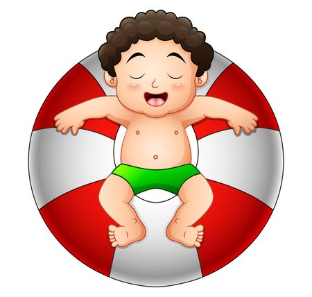 Little boy relaxing in inflatable ring Stock Photo