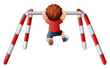 backview: Vector illustration of Boy pull-up exercise on the crossbar Illustration