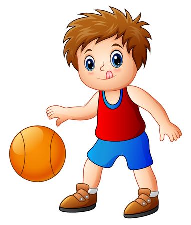 costume ball: Vector illustration of Cartoon boy playing basketball