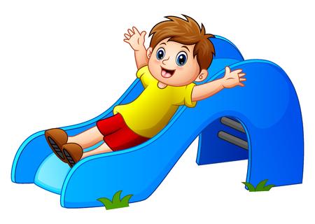 Vectorillustratie van Cartoon boy play sliding down