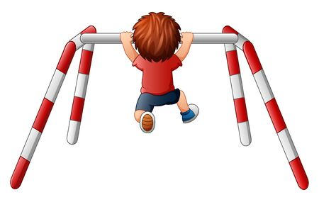 Boy pull-up exercise on the crossbar