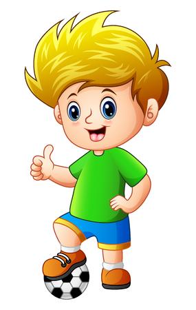 Kleiner Junge mit Fußball geben Daumen hoch Standard-Bild - 83263843