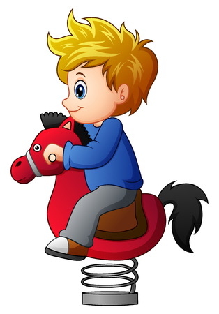 wooden horse: Little boy on rocking horse