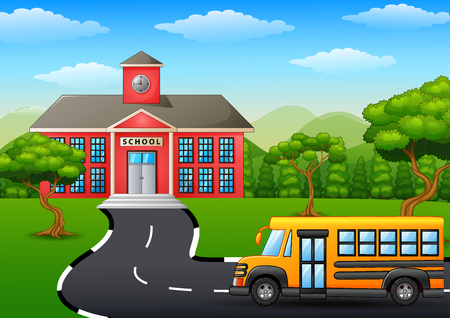 front or back yard: Vector illustration of Yellow school bus in front of school building