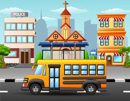 Vector illustration of school bus on city skyline background