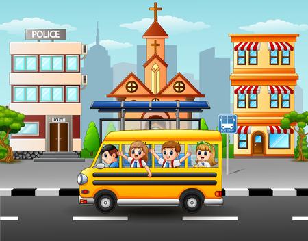 Ilustração do vetor de estudantes felizes andando de ônibus escolar