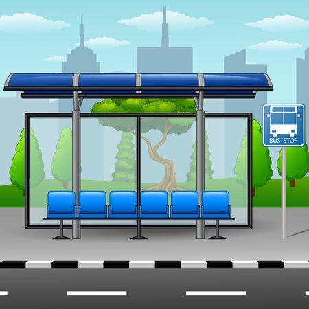 metropolitan: Bus stop with trees on city skyline background Stock Photo
