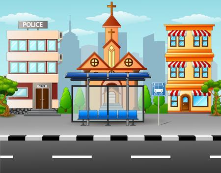 버스 정류장과 건물이있는 도시 장면