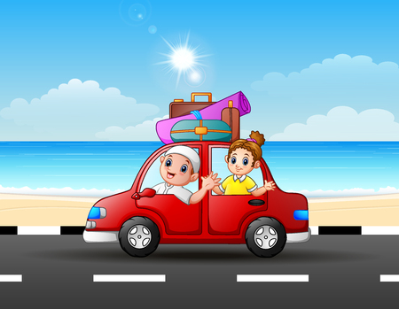 Father and daughter traveling in a car