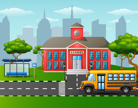 front or back yard: Yellow school bus in front of school building with bus stop