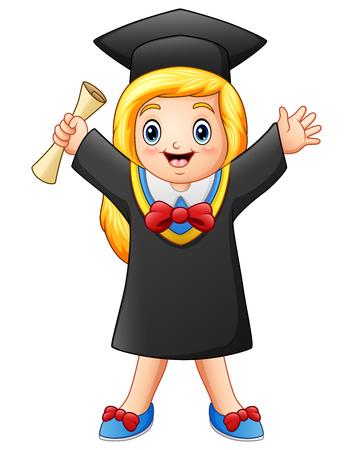 Vector illustration of Cartoon graduate girl with diploma Stock Illustratie
