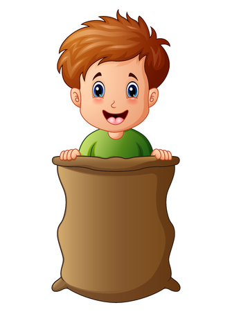 Vector illustration of Little boy playing jumping sack race