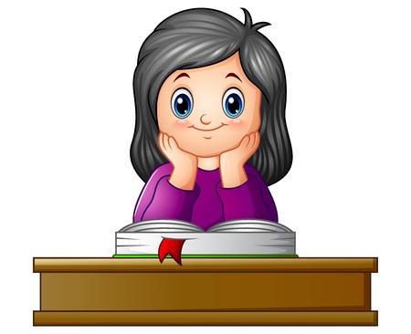 Ilustración vectorial de niña de la escuela con libros de texto en el escritorio