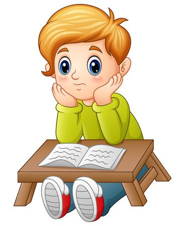 Vector illustratie van kleine jongen verward een boek lezen