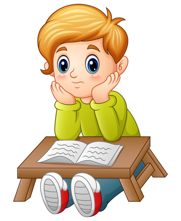 Vector illustration of Little boy confused read a book