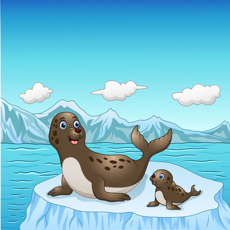 Vector illustration of Seal family cartoon on ice floes
