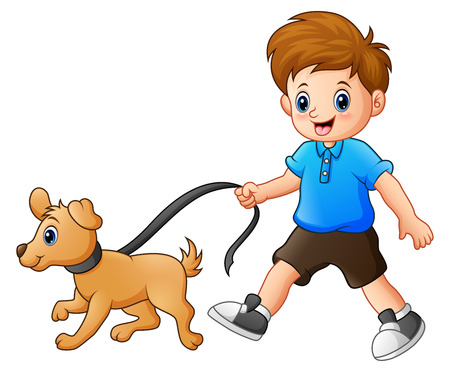 Little boy walking with his dog