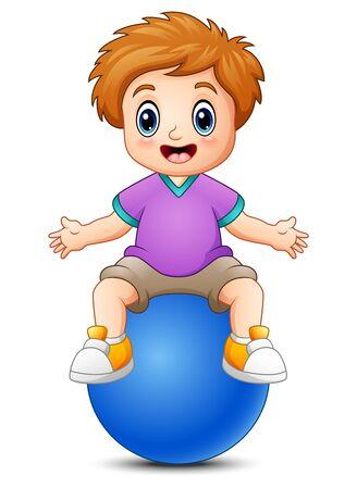 playtime: Little boy sitting on blue ball Stock Photo