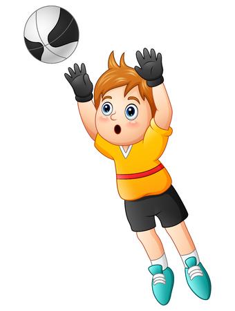 Ilustración vectorial de dibujos animados niño portero captura de un balón de fútbol