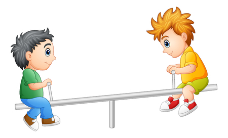 playmates: Vector illustration of Two boys playing on seesaw Vectores