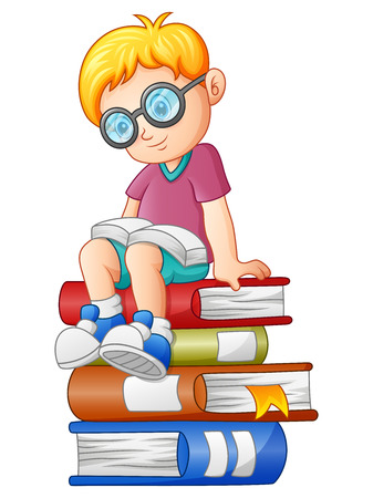 Vector illustration of a Little boy reading a book on a stack of books