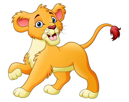 Une illustration de vecteur de lionne Cartoon isolé sur fond blanc.
