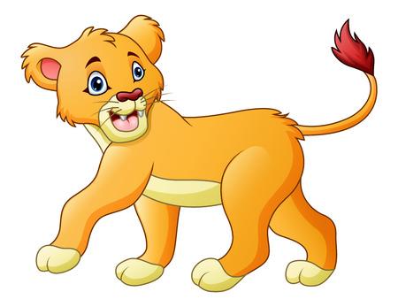 白背景イラストに分離された漫画雌ライオンのベクトル イラスト。