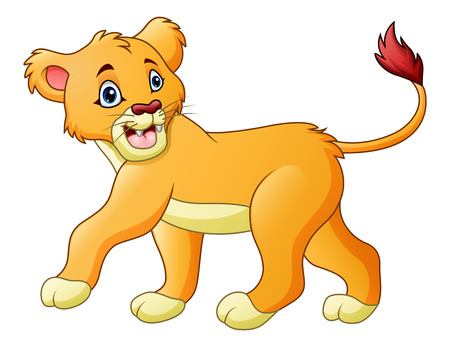 A Vector illustration of Cartoon lioness isolated on white background illustration. Çizim