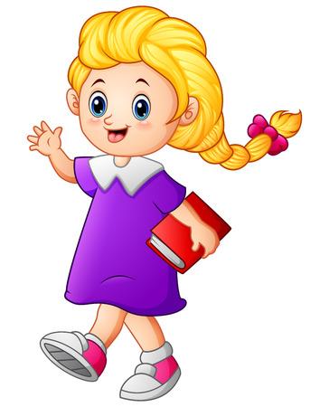 braided: Cute girl walk holding book