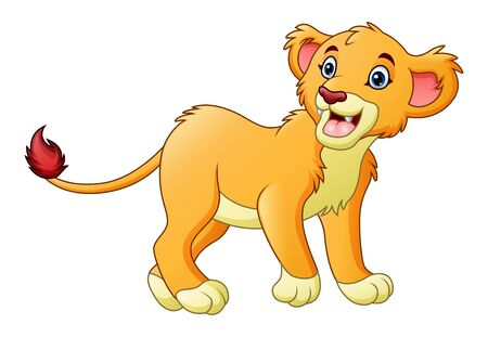 Cartoon lioness isolated on white background
