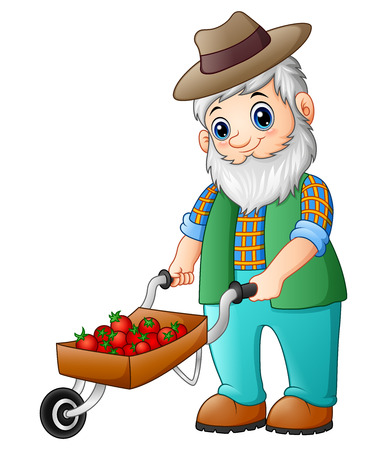 Vector illustration of Bearded gardener pushing a strawberry cart