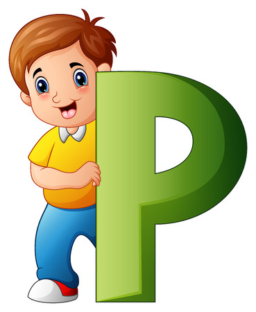 A Vector illustration of Little boy holding letters P illustration.