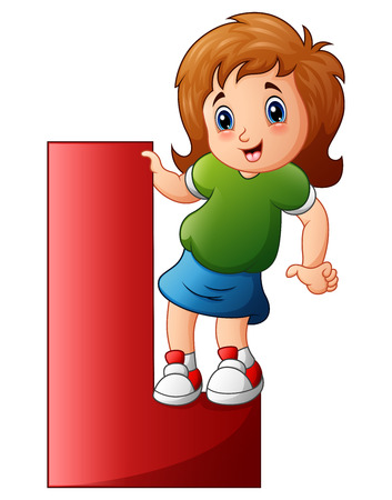 A Vector illustration of Little girl holding letters L.