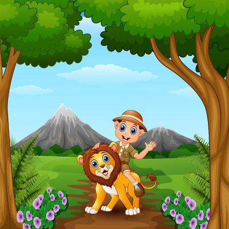 Vector illustration of Zookeeper boy and a lion in jungle Ilustração