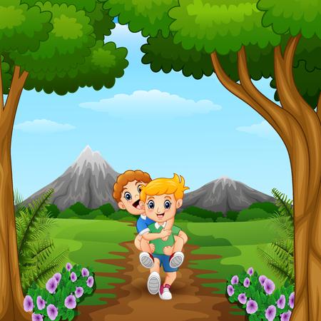 Vector Illustration von den Karikaturkindern, die im Dschungel spielen
