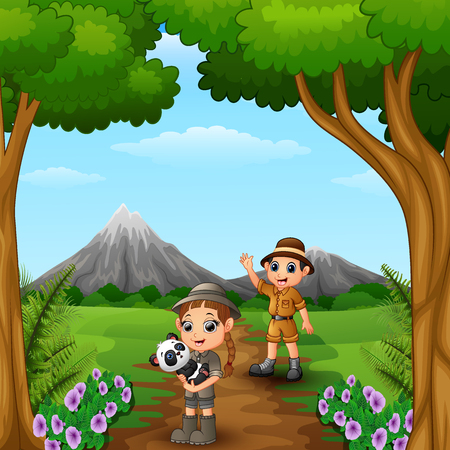 Vector illustration of Zookeeper boy and girl with panda in the jungle
