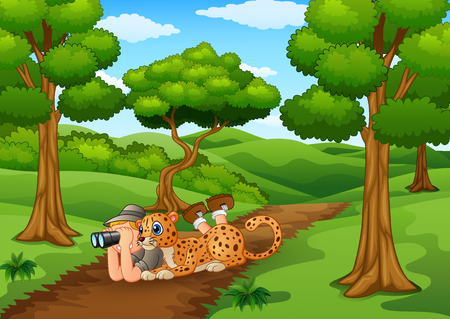lay down: Vector illustration of Zookeeper boy with binoculars and leopard in the jungle Illustration