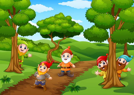 christmas tree illustration: Vector illustration of Cartoon happy dwarf in the forest
