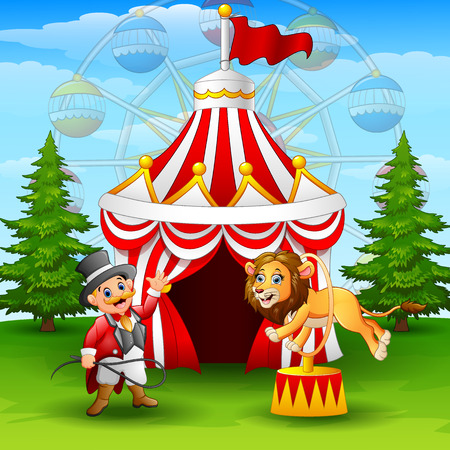 Vector illustration of Cartoon lion jumping through ring on the circus tent background Illustration