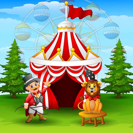 Vector illustration of Cartoon tamer and lion on the circus tent background